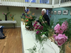 Ikebana Demonstration by Kaye Vosburgh; she is only one of 3 people in the Boston area, with Ikebana certification.